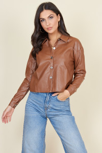 Brown Pu Metal Button Boyfriend Shirt