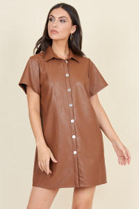 Brown Matt Pu Short Sleeve Oversized Mini Shirt Dress