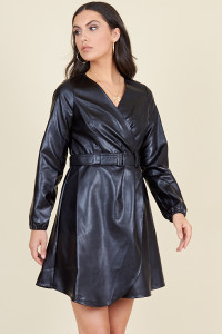 Black PU Long Sleeve Wrap Belted Mini Dress