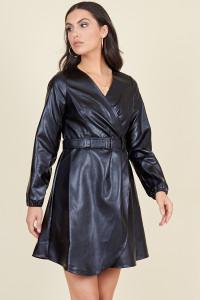 Black PU Long Sleeve Wrap Belted Mini Dress