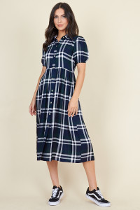 Navy Green Check Short Puff Sleeve Button Through Midi Shirt Dress