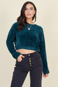 Deep Teal Chenille Knit Cropped Long Sleeve Top