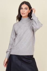 Grey Diamond Knitted High Neck Jumper