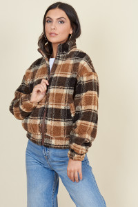 Brown Check Borg Zip Through Teddy Jacket