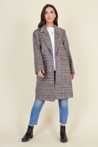 Dark Brown Check Through On Boyfriend Coat