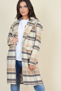 Brown Check Through On Boyfriend Coat
