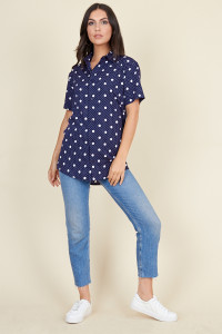 Navy White Multi Size Polka Dot Short Sleeve Boyfriend Shirt