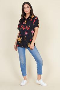 Black Base Large Floral Short Sleeve Boyfriend Shirt
