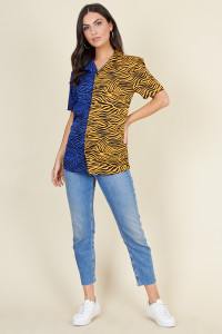 Blue Mustard Tiger Mix And Match Short Sleeve Boyfriend Shirt