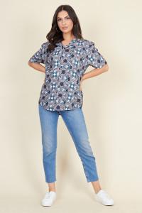 Blue Moroccan Tile Short Sleeve Boyfriend Shirt