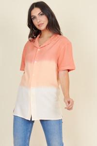 Peach Faded Linen Look Short Sleeve Boyfriend Shirt