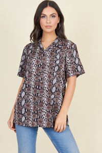 Grey Brown Snake Short Sleeve Boyfriend Shirt