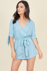 Green White Mini Heart Tie Sleeve Wrap Playsuit With Belt