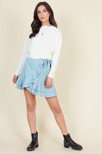 Green White Mini Heart Ruffle Hem Wrap Mini Skirt