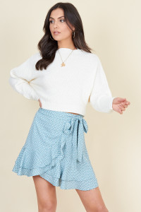 Green White Mini Heart Ruffle Hem Wrap Mini Skirt