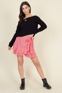 Red White Mini Heart Ruffle Hem Wrap Mini Skirt