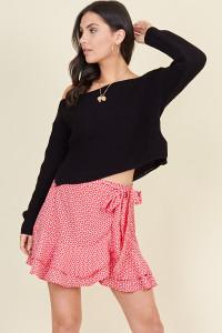 Red White Mini Heart Ruffle Hem Wrap Mini Skirt