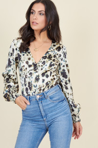 Cream Inky Animal Button Through Shirred Cuff Detail Tea Top