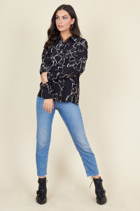 Black White Squiggle Floral Oversized Shirt