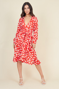 Red Daisy Floral Print Belted Ruffle Hem Wrap Midi Dress