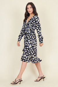 Black Daisy Floral Print Belted Ruffle Hem Wrap Midi Dress