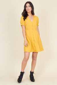 Mustard Short Puff Sleeve Button Down Mini Tea Dress