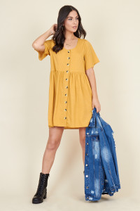Mustard Polka Dot Horn Button Front Mini Smock Dress