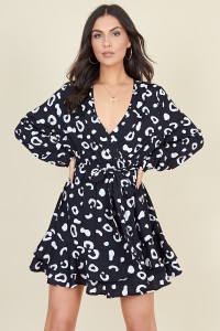 Black Abstract Animal Print Ruffle Wrap Dress with Skirt