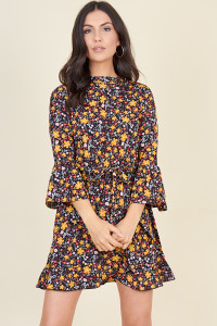 Multi Ditsy Print High Neck Flute Sleeve Frill Skater Dress