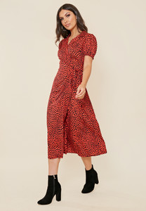 Red Heart Print Revere Collar Wrap Midi Dress