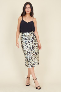 Cream Inky Animal Bias Cut Satin Midi Skirt