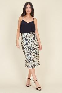 Cream Inky Animal Bias Cut Satin Midi Skirt