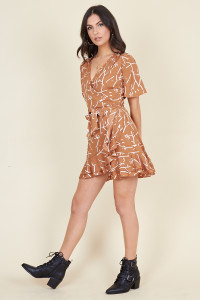 Brown and White Scribble Print Double Ruffle Wrap Skater Dress
