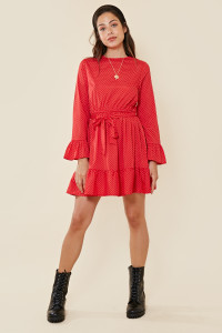 Red Spot Ruffle Hem Waist Belted Mini Dress
