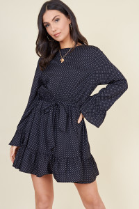 Black Spot Ruffle Hem Waist Belted Mini Dress