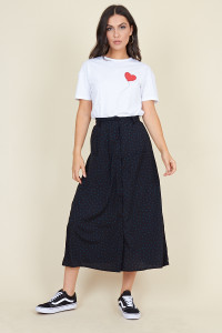 Black High Waisted Button Through Midaxi Skirt