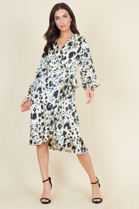 Cream Animal Print Long Sleeve Wrap Ruffle Hem Midi Dress