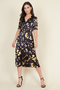 Black Satin Animal Splodge Print Button Detail Midi Dress