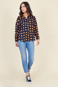 Navy Orange Puzzle Spot Oversized Shirt