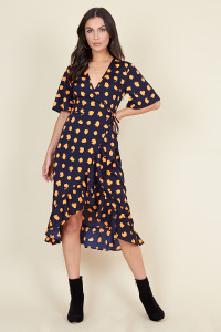 Navy Orange Puzzle Spot Print Wrap Midi Dress with Frill