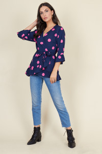Navy Pink Large Spot Frill Detail Wrap Top