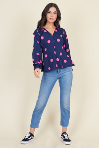 Navy Pink Large Spot Long Sleeve Tea Top