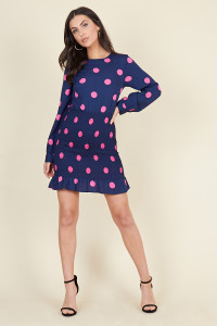 Navy Pink Large Spot Shirred Skirt Ruffle Hem Mini Dress