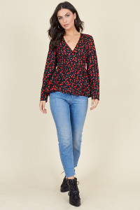Black Base Cherry Print Long Sleeve Tea Top