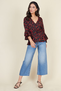 Black Base Cherry Print Flute Sleeve Wrap Blouse