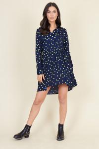 Navy Yellow Polka Dot Dipped Hem Shirt Dress