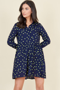 Navy Yellow Polka Dot Dipped Hem Shirt Dress