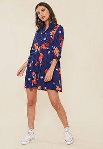 Navy Floral Print Grandad Collar Smock Style Shirt Dress