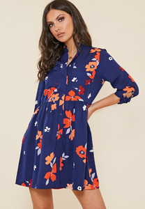 Navy Floral Print Granddad Collar Smock Style Shirt Dress