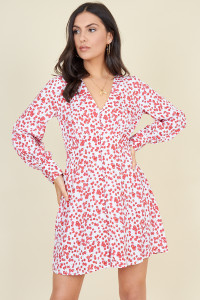 White and Red Ditsy Floral Button Down Mini Tea Dress